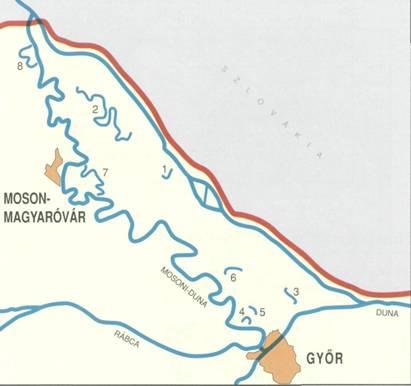 mosoni duna térkép A Felső Duna és a Mosoni Duna holtágai mosoni duna térkép